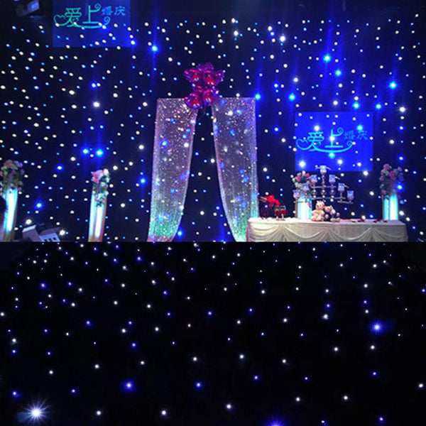 3x2m 3x3m 3x4m 4x4m White Blue Show  Backdrop LED Star Curtain Fireproof Starlight with Controller for Wedding Party - LADSPAD.COM