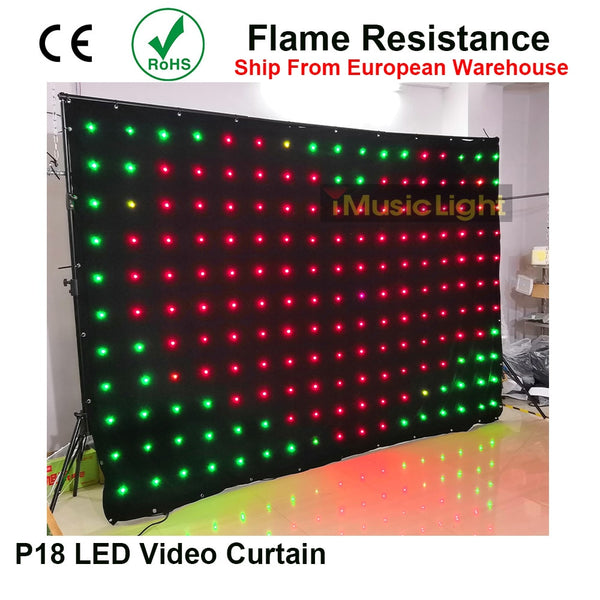 LED Backdrop P18 2Mx3M DMX Controller 80 Animated Patterns 187pcs LED Vision Curtain Flexible Screen LED Video Curtain Screen