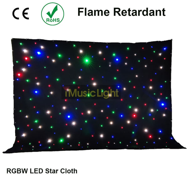 4x6Mtr Starcloth Sparkley Drape LED Star Cloth Backdrop With Controller System For DJ Band Stage Party Church Theater