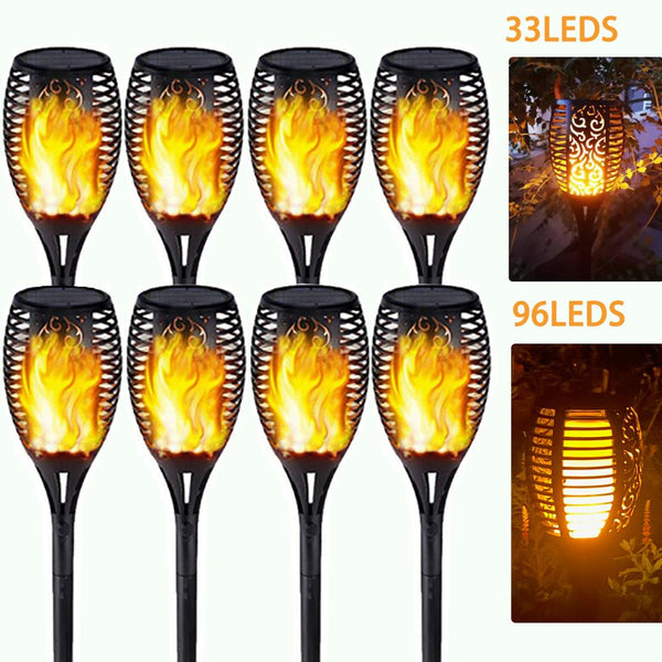 Honhill 4pcs Led Solar Flame Lamp Outdoor Torch Waterproof Solar Led Garden Decoration Landscape Lawn Lamp Automatic On Dusk