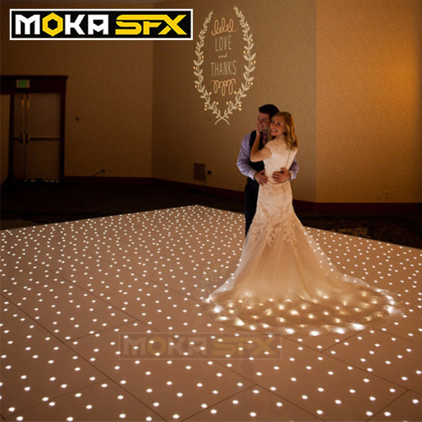 12X12 Feet Starlit Dance Floor DMX Twinkling White/Black Tiles Disco Dance Floor With Flight Case for Wedding Party