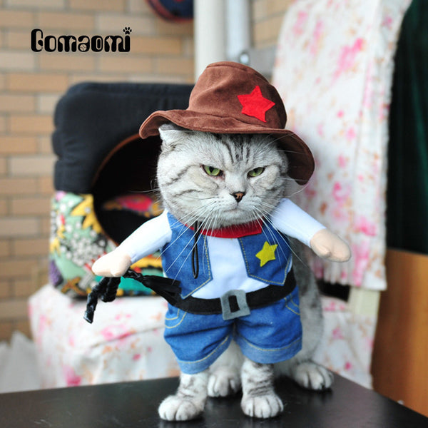 Gomaomi Pet Dog Cat Costume Cowboy Jeans Hoodie Shirts Halloween Costume Jumpsuit Puppy Clothes Funny Coat - LADSPAD.COM