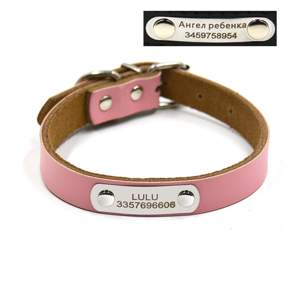 Free engraving name number Genuine leather small and large pet dog collars DIY puppy collars four color supply - LADSPAD.COM