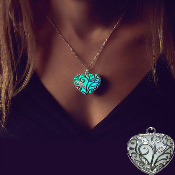 Love Heart Stone Glow Plated Silver Necklace