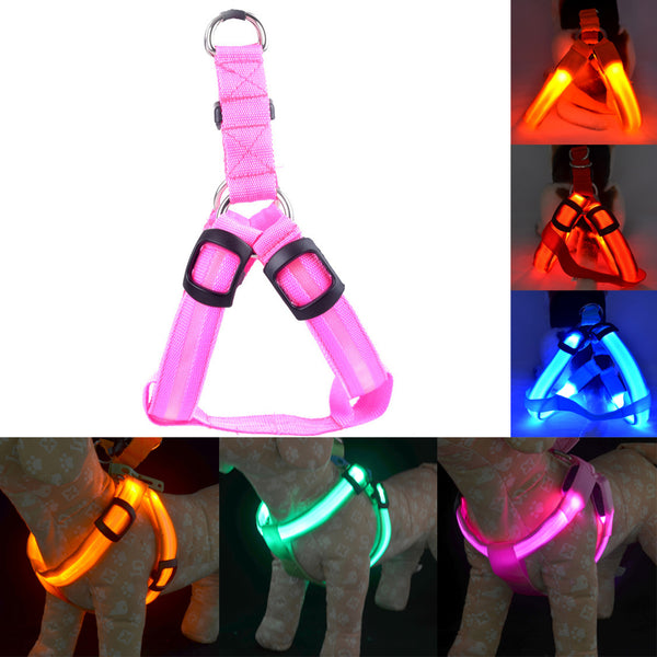 Dog Harness Nylon LED Pet Cat Dog Collar Harness Vest High Quality Safety Lighted Dog Harness Small / Big / Large Size Wholesale - LADSPAD.UK
