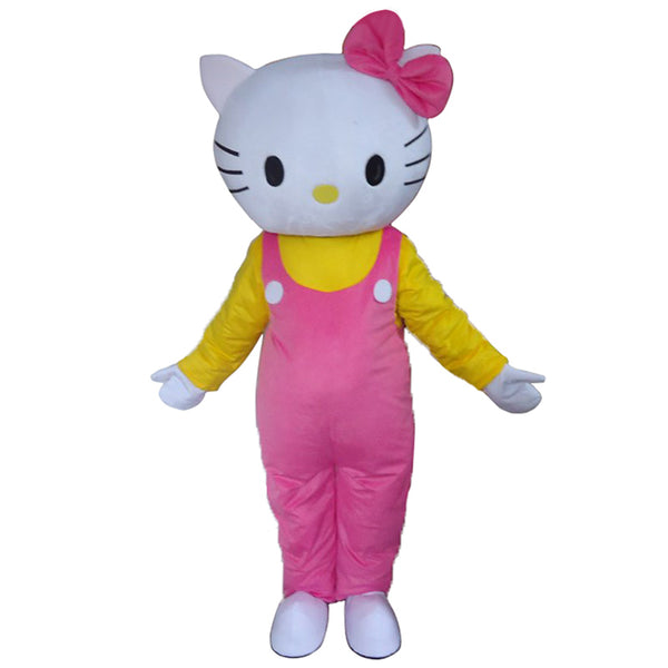 Brand New Adult Cartoon Mascot Costume Cute Hello Kitty pink Fancy Dress - LADSPAD.UK