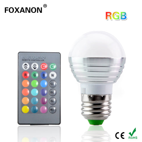 Foxanon E27 16 Colors Changing 3W 85-265V magic RGB LED Lamp Stage DJ Light Dimmable RGB Bulb + 24key IR Remote Control lighting - LADSPAD.UK