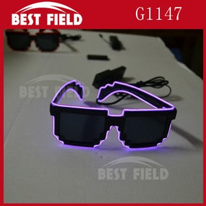 Free shipping  8 bit pixel light up el wire led flashing mosaic glasses EDM EDC Rave Party Bar Eyeswear Accessory Sunglasses