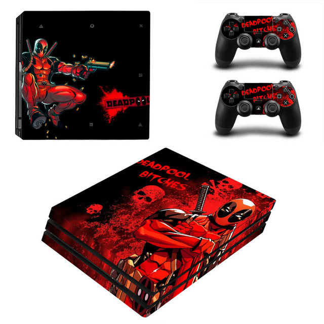 Deadpool Vinyl Skin Sticker for Sony PS4 Pro Console and 2 Controllers Decal Cover Game Accessories - LADSPAD.UK