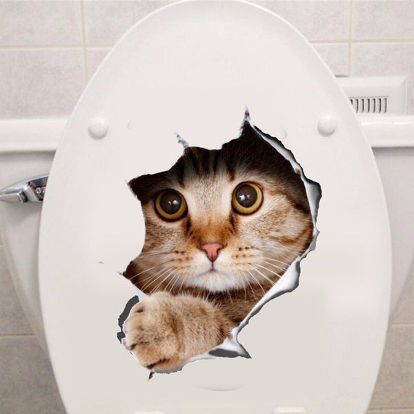 Vinyl waterproof Cat Dog 3D Wall Sticker Hole View Bathroom Toilet Living Room Home Decor Decal Poster Background Wall Stickers - LADSPAD.COM