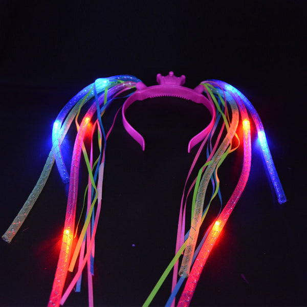 Braids Light Up Crown Noodle Hair Band LED Party - LADSPAD.UK