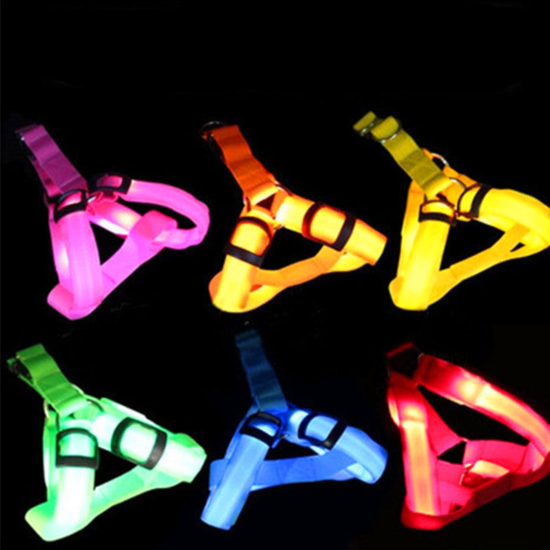 Nylon Pet Dog harness Cat Safety LED Flashing Light Harness LED Leash Rope Belt Collar Harness Vest for large dogs - LADSPAD.COM