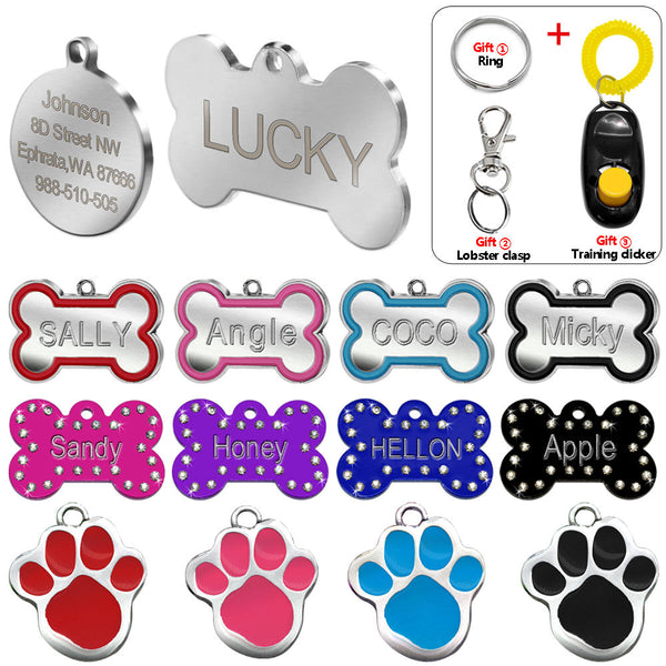 Engraved Pet Dog Tags Custom Cat ID Name Tags for Pets Personalized Paw Bone Shape FREE Gift S L - LADSPAD.UK