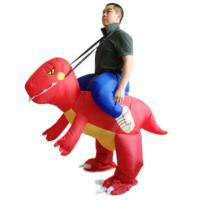 Inflatable T-Rex Dinosaur Rider Costume Kids Halloween Blowup Outfit Party Dress