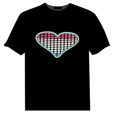 Sound Activated LED T Shirt Light Up and down Flashing Equalizer EL T-Shirt Men for Rock Disco Party DJ T shirt - LADSPAD.COM