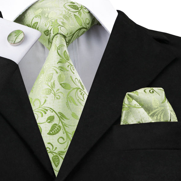 Green Floral Slik Mens Tie, Hankerchief, and Cuff Links Set - LADSPAD.COM