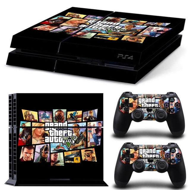 GTA-V For Playstation 4 Console Decal Vinyl Skin Cover For Sony PS4 Games with 2 Controller Skin - LADSPAD.COM