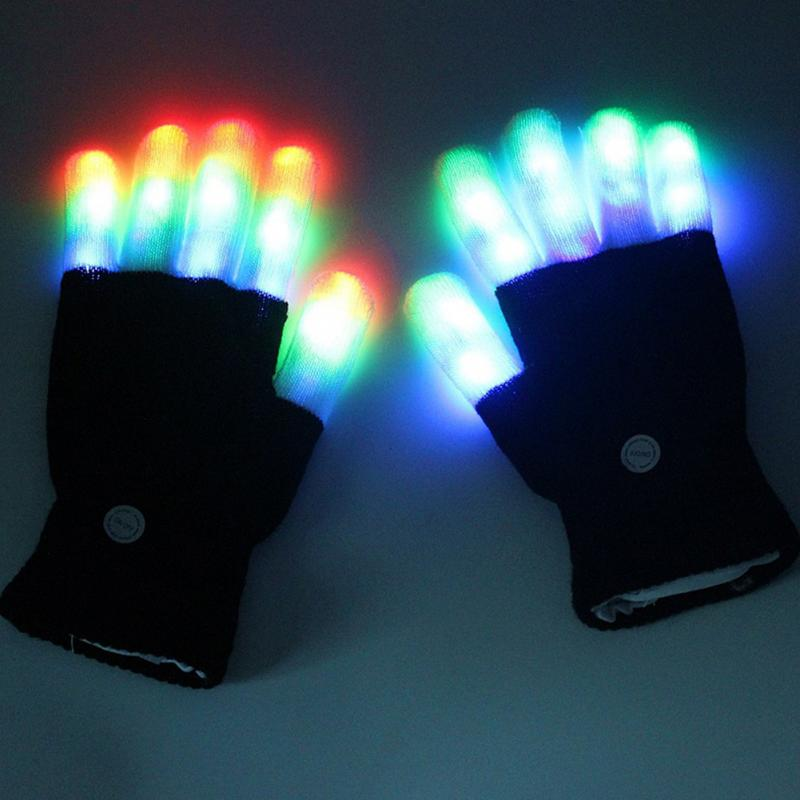 Colorful Magic glove Rainbow Flash Fingertip LED Gloves - LADSPAD.COM