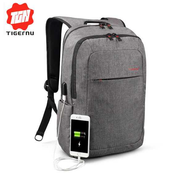 Tigernu Unisex Backpack with External USB Charger - LADSPAD.UK