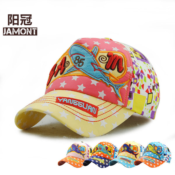 JAMONT New Summer Cartoon Children Baseball Cap Boy and Baby Cotton Star Snapback Hat Girl