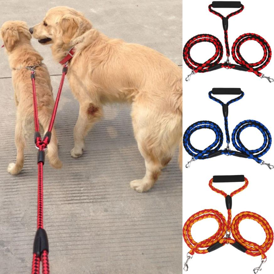 Double Dog Leash for Two Dogs 125cm Braided Tangle Free Dual Leash Coupler For Walking and Training Two Dogs 3 Colors EY11 - LADSPAD.UK