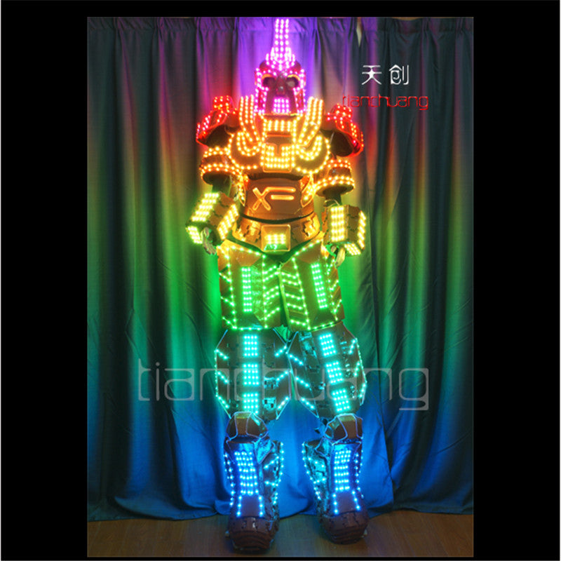 TC-138Programmable Full color RGB led robot men costumes luminous light robots stilts led costumes stage wears mechanic clothes DJ Dance LED - LADSPAD.UK