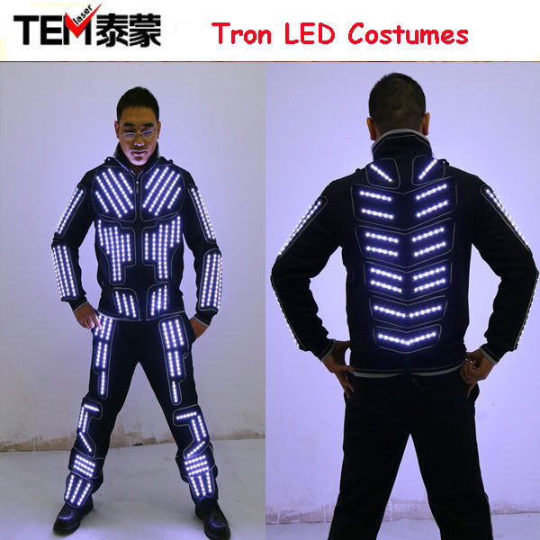 Tron LED Suit Traje LED Robot Suit LED Clothing Luminous Dance Costume, LED Single Color, Strobe Program Remote Control LED Suit - LADSPAD.UK