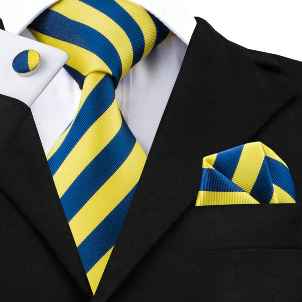 Blue and Yellow Silk Mens Tie, Hankerchief, and Cuff Links Set - LADSPAD.COM