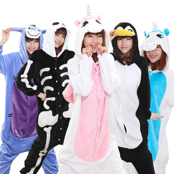 Warm Flannel pajamas for women Pajama Couples Cartoon Sleepwear Adult Animal Onsies Pijama Adulto Unicorn Panda Stitch Pijamas - LADSPAD.UK