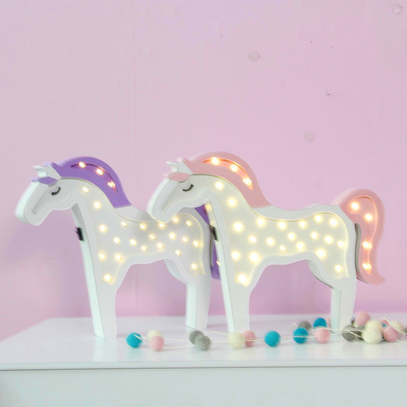 28leds LED Wood Unicorn Horse Animal Night Lamp Children's Day Lovely Cloud Gifts Home Party Wall Decor Holiday Lighting 2color - LADSPAD.COM