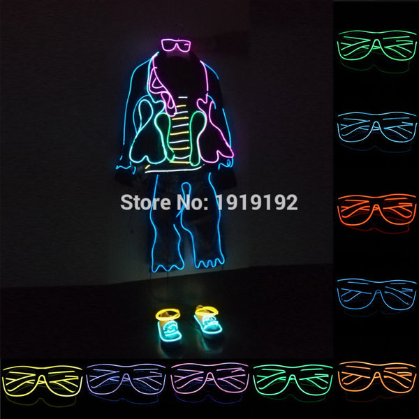 Sound control el glasses Clear Lens El Wire Fashion Neon LED Light Up Shutter Shaped Glasses Rave Costume Christmas Party - LADSPAD.UK