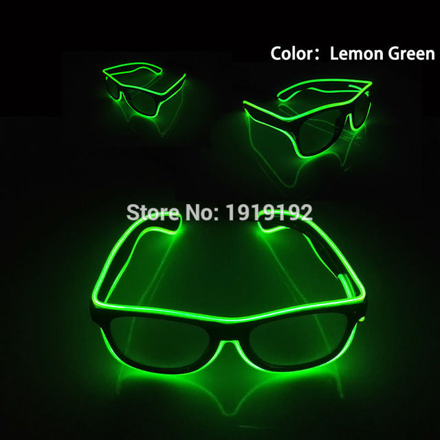 Sound control el glasses Clear Lens El Wire Fashion Neon LED Light Up Shutter Shaped Glasses Rave Costume Christmas Party - LADSPAD.COM