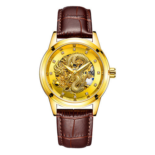 LANGLEY Mens Luxury Watch with 3D Dragon Carving - LADSPAD.UK