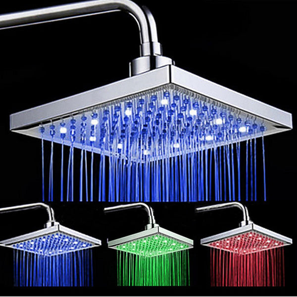Uythner Newly Arrival LED Color Changing Rainfall 8 inch Shower Head Rectangular Waterfall Shower Head Chrome Finish