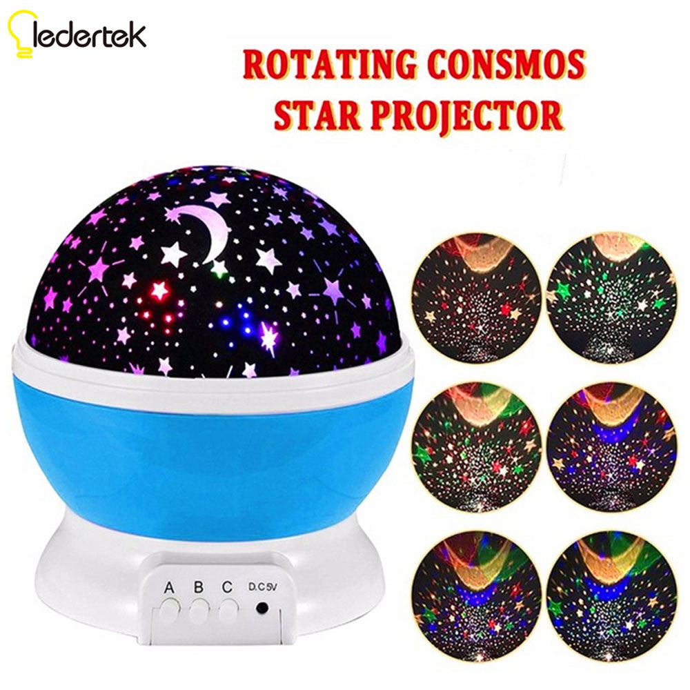 New Romantic New Rotating Star Moon Sky Rotation Night Projector Light Lamp Projection with high quality Kids Bed Lamp - LADSPAD.UK