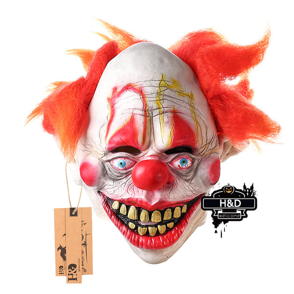 Red Nose with Red Hair Scary Clown Mask