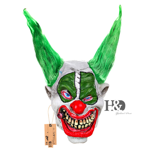 Green Hair Red Nose Full Face Horror Mask - LADSPAD.COM