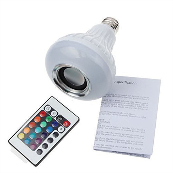 Wireless Bluetooth Speaker +12W RGB Bulb E27 LED Lamp 100-240V 110V 220V Smart Led Light Music Player Audio with Remote Control - LADSPAD.UK