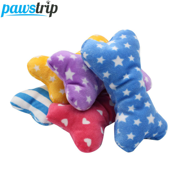 1pc Plush Pet Dog Sound Toys Bone Shape Puppy Cat Chew Squeaker Squeaky Toy - LADSPAD.UK