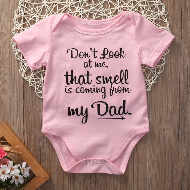 Fashion casual letter cotton o-neck Newborn Infant Baby Girls Clothes Funny Bodysuit - LADSPAD.COM