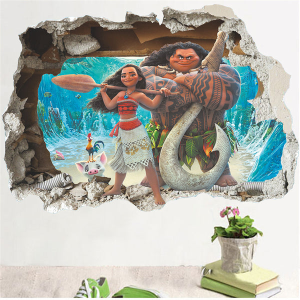 Cartoon Movie Moana Maui vaiana 3d Effect Wall Sticker - LADSPAD.UK