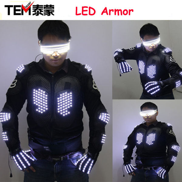 New Arrival Fashion LED Armor Light Up Jackets Costume Glove Glasses Led Outfit Clothes Led Suit For LED Robot suits - LADSPAD.COM