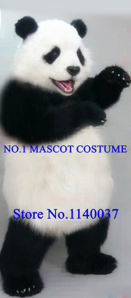 High Quality Realistic Plush Panda Mascot Costume Adult Lovely Panda Theme Cartoon Carnival Mascotte Costumes Fancy Dress Kits - LADSPAD.UK