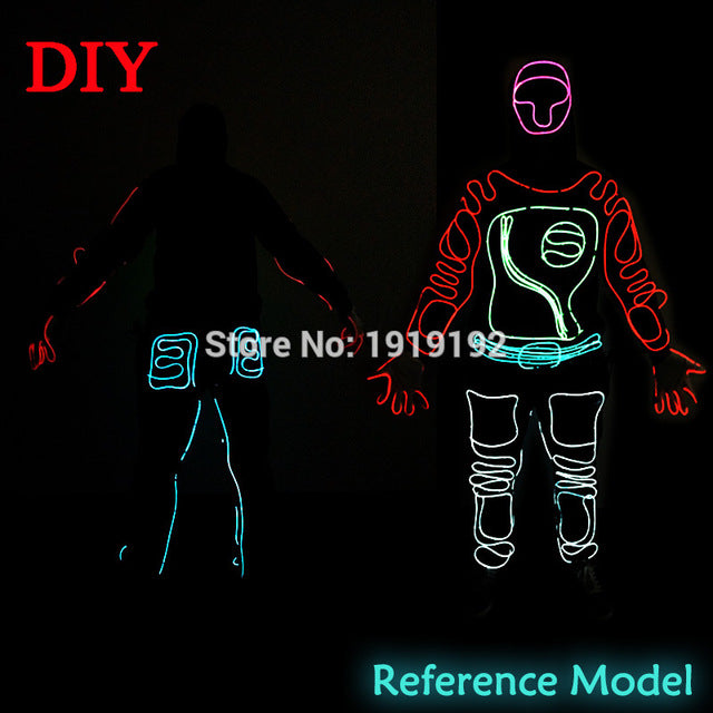 EL Suits 2017 New Fashion LED/EL Clothes Luminous Costumes Glowing Gloves Shoes Light Clothing Men EL Masks Clothe Dance - LADSPAD.UK