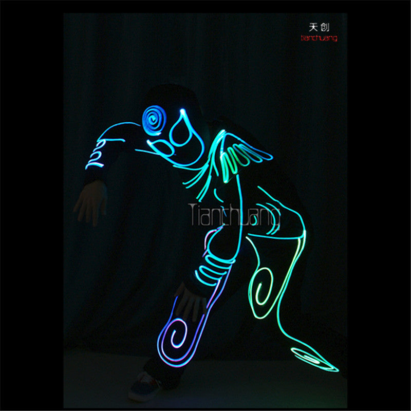 TC-177 Programmable Mens robot led costumes dance dj clothes full color light disco el wears stage show projector luminous suit - LADSPAD.COM