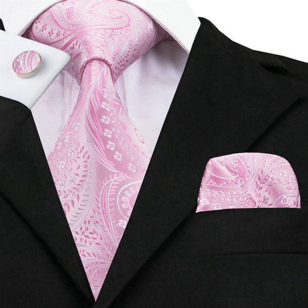 Pink Mens Wedding Tie, Hankerchief and Cuff Links - LADSPAD.COM