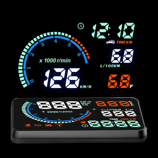"5.5"" Colorful Multifunctional I9 Car HUD Head Up Display Overspeed Warning Windshield Project Speed Alarm System OBDII Interface - LADSPAD.COM"