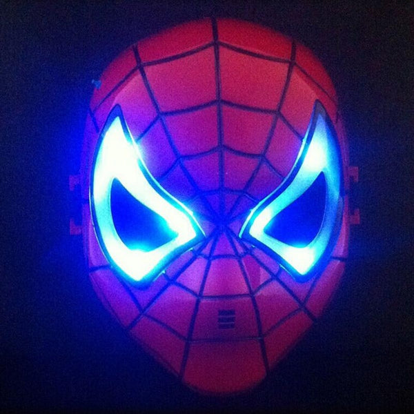 LED Glowing Superhero Halloween Light Spider Man Mask Children's Cartoon Mask Spider-man Toy Glow with Lamp Spiderman Mask