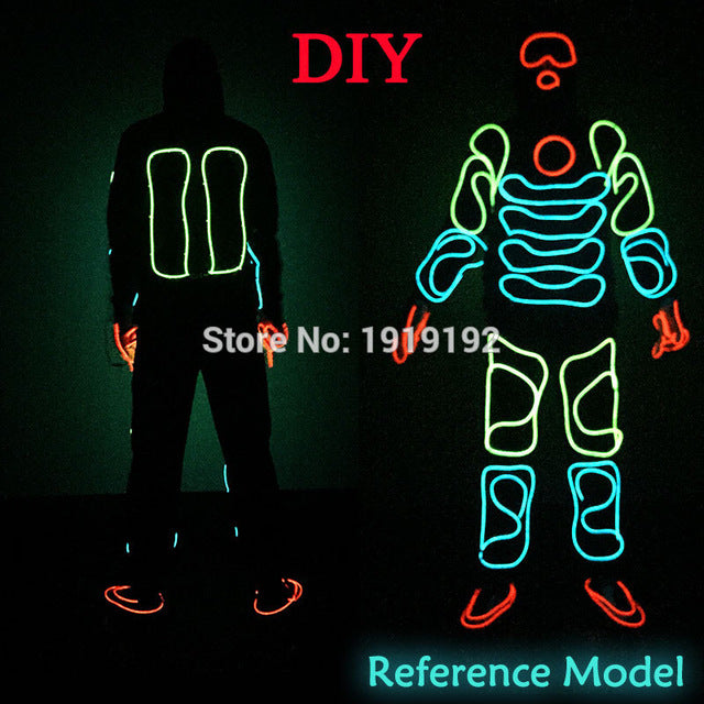 LED Suits Luminous Costumes Illuminated Glowing Hooded Men EL Clothes Cold Strip Dance Fashion Talent Show LED Light Clothing - LADSPAD.COM