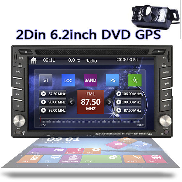 Car DVD Player 6.2inch Stereo GPS 2 Din Car Radio Video Player Bluetooth+Free Wireless Rear Camera - LADSPAD.COM
